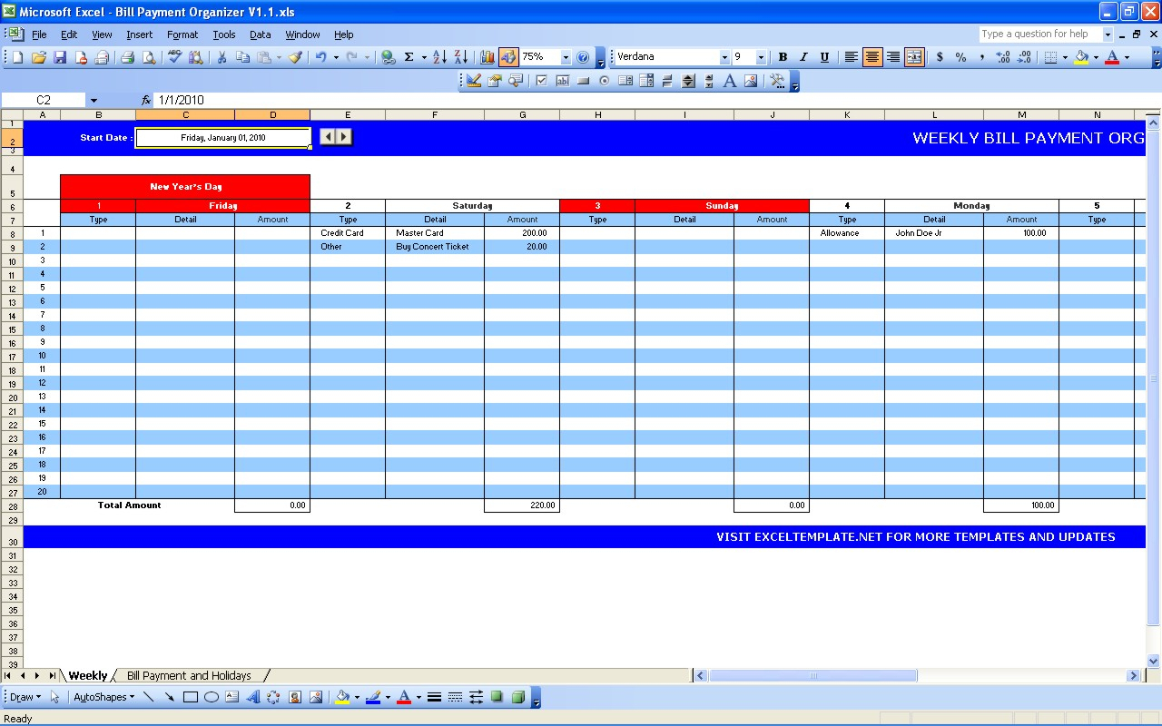 Bill Payment Calendar   Excel Templates And Excel Spreadsheet Template For Monthly Bills