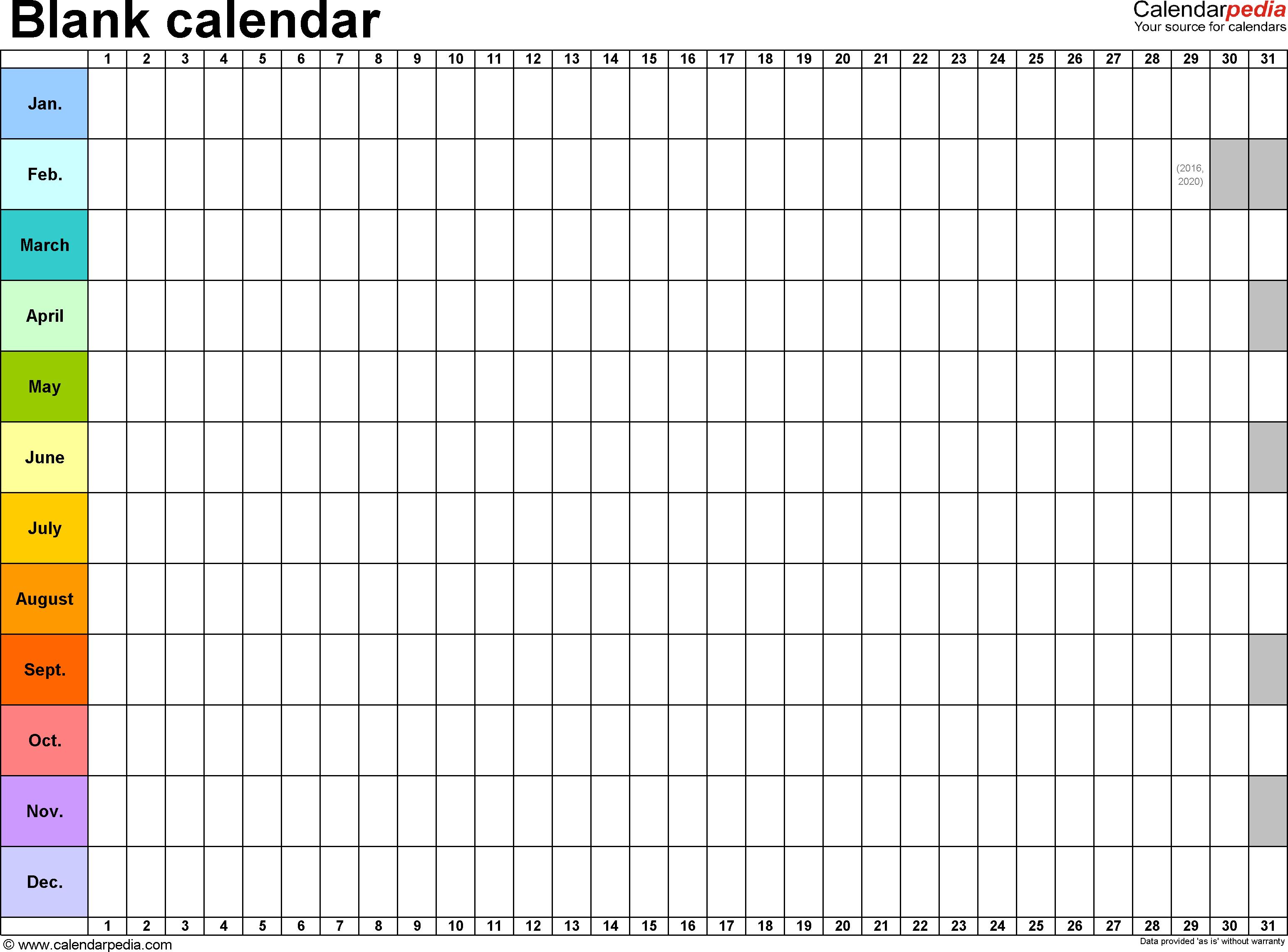 Blank Calendar   9 Free Printable Microsoft Word Templates Throughout Blank Worksheet Templates