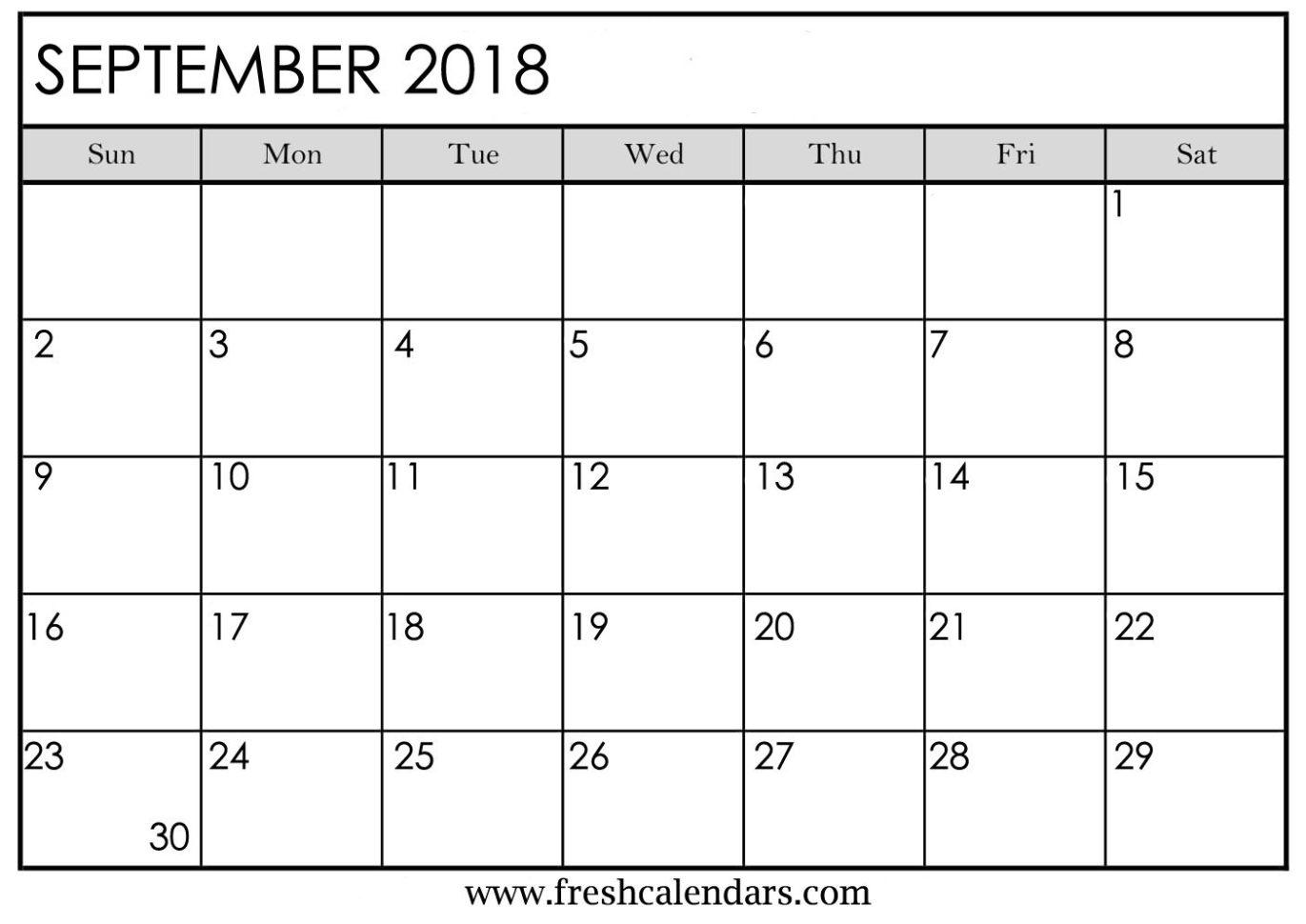Blank September 2018 Calendar Printable Templates Intended For Blank Worksheet Templates