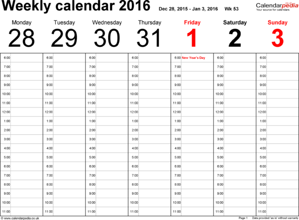 Blank Weekly Calendar Template For Monthly Work Schedule Template Pdf