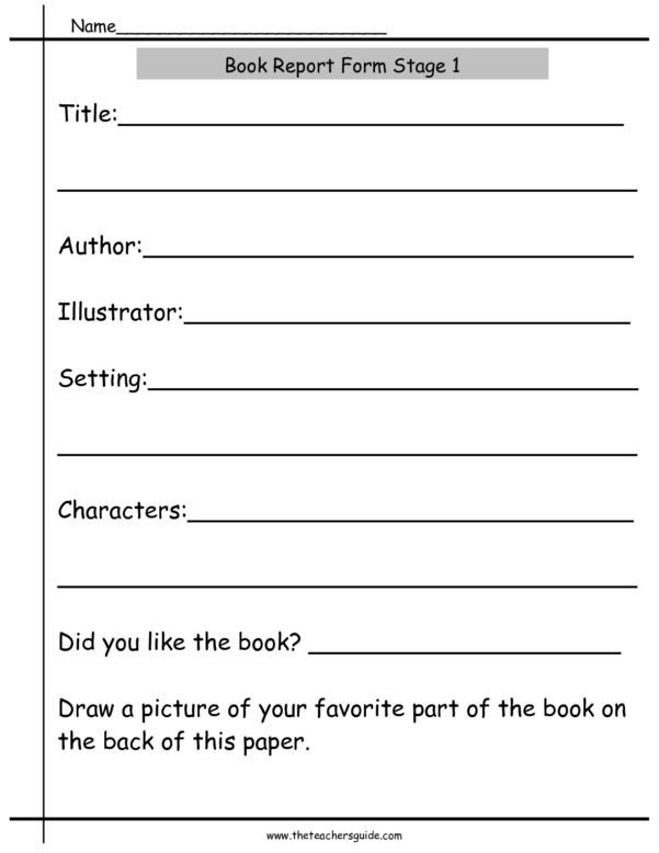 Book Report Worksheets From The Teacher's Guide For Worksheet Templates For Teachers