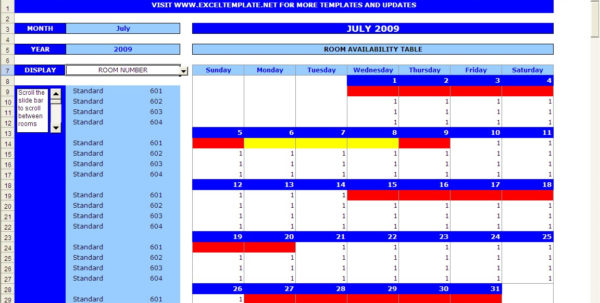 Booking Calendar | Excel Templates And Calendar Spreadsheet