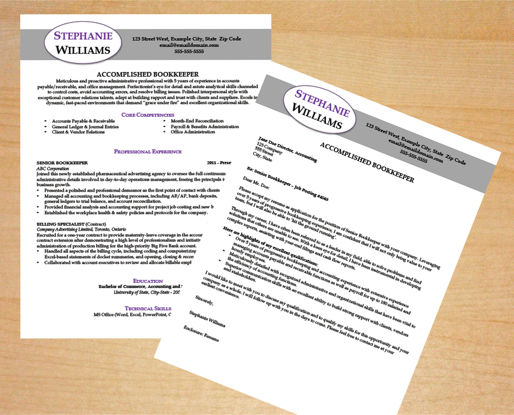 Bookkeeper Resume & Cover Letter Template Intended For Bookkeeping Contract Template Canada