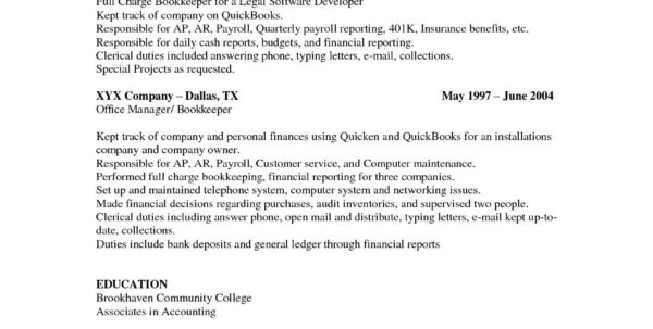 Bookkeeper Resume Examples | Nguonhangthoitrang Intended For Bookkeeping Resume Samples