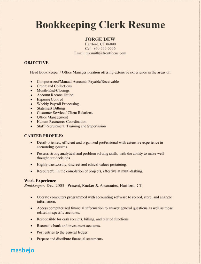 Bookkeeper Resume Examples Resume For Bookkeeper Ideas Bookkeeping Throughout Bookkeeping Resume Samples