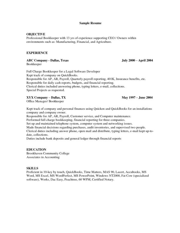 Bookkeeper Resume Objective | Nguonhangthoitrang And Bookkeeping Resume Templates