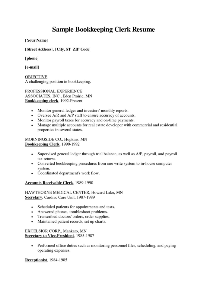 Bookkeeper Resume Objective | Nguonhangthoitrang Inside Bookkeeping Reports Samples