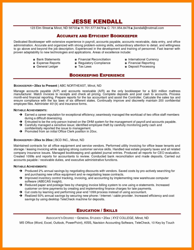 Bookkeeper Resume Sample   Eezeecommerce Intended For Bookkeeping Reports Samples