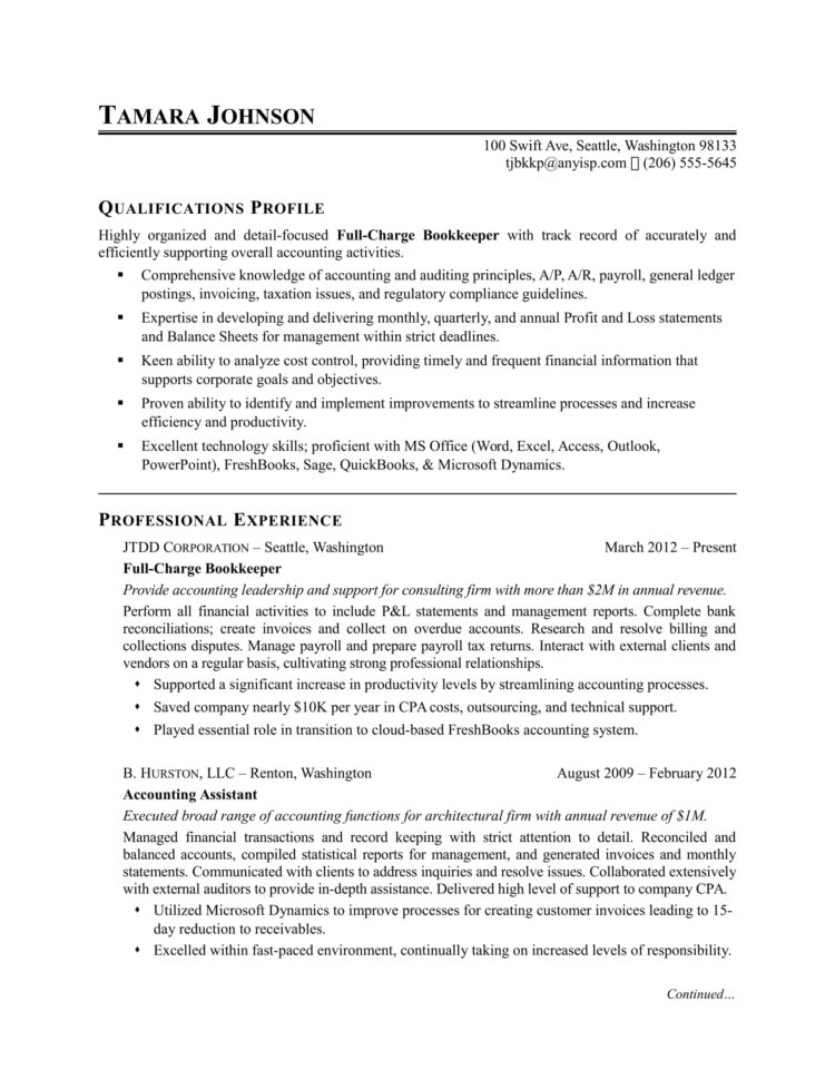 Bookkeeper Resume Sample | Monster For Bookkeeping Contract Template Canada