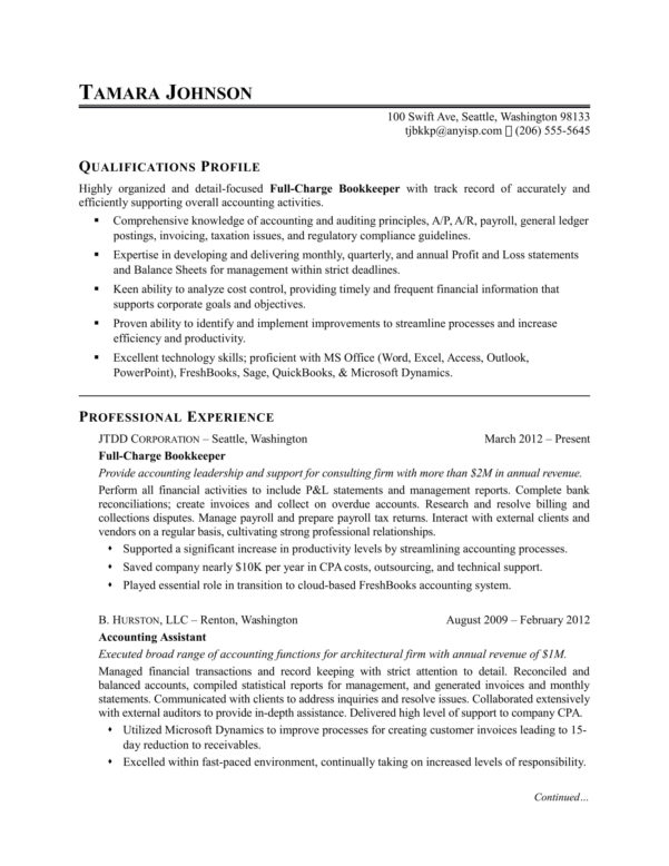 Bookkeeper Resume Sample | Monster In Samples Of Bookkeeping Spreadsheets