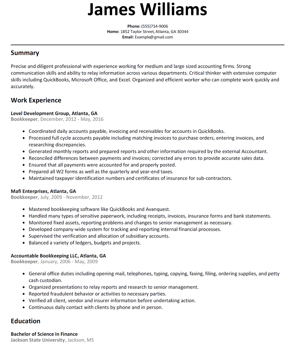 Bookkeeper Resume Sample   Resumelift Intended For Bookkeeping Reports Samples