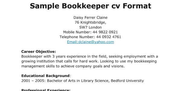 Bookkeeper Resume Samples | Nguonhangthoitrang And Bookkeeper Resume Sample Summary