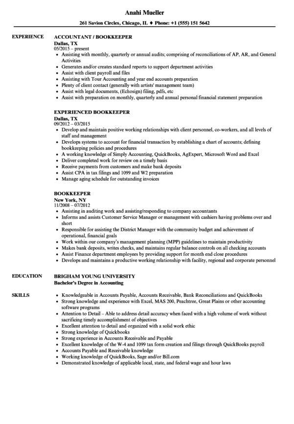 Bookkeeper Resume Samples | Velvet Jobs In Bookkeeping Resume Templates