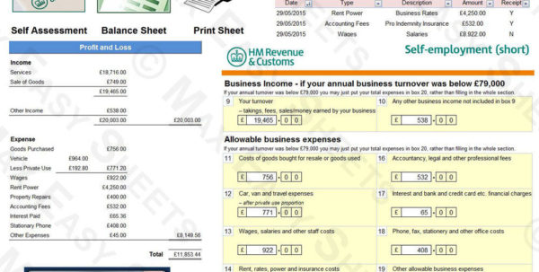 Bookkeeping Accounts Tax Spreadsheet Business Sole Trader Self To Bookkeeping For Ebay Sellers