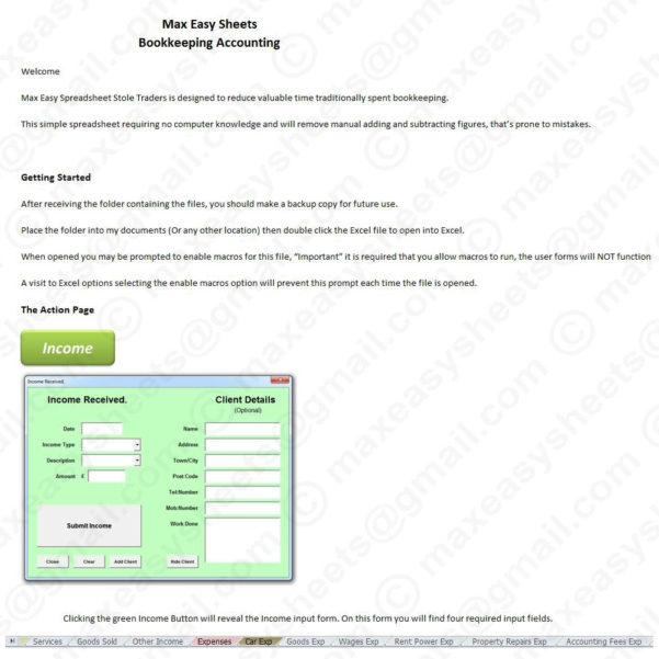 Bookkeeping Accounts Tax Spreadsheet Business Sole Trader Self To Within Sole Trader Accounts Spreadsheet