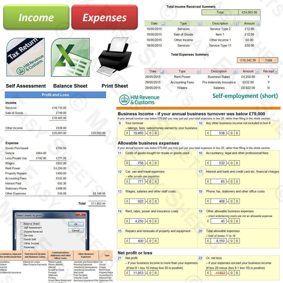 Bookkeeping Accounts Tax Spreadsheet Business Sole Trader Self With Bookkeeping For Ebay Business