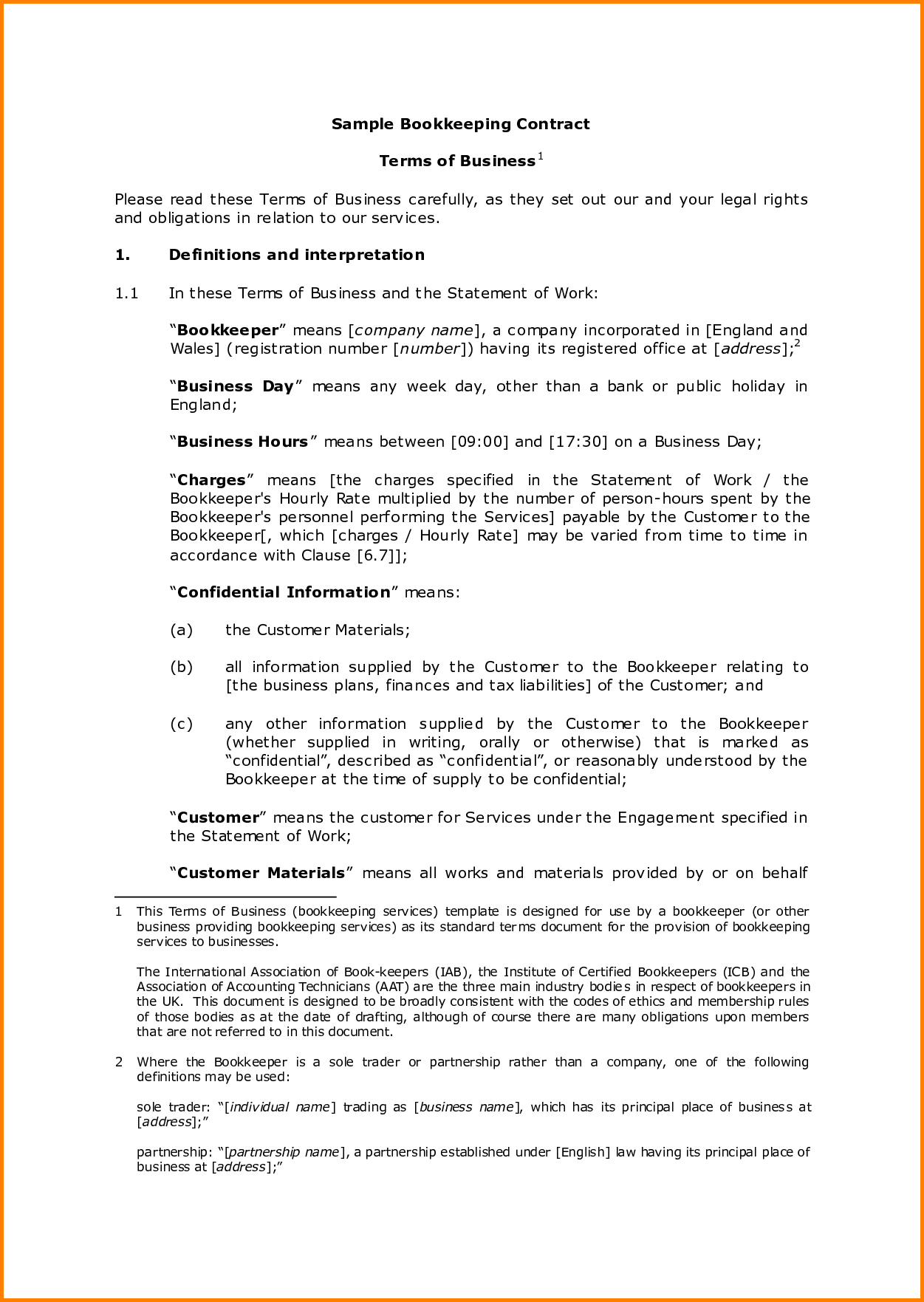 Bookkeeping Contract Template 3   El Parga To Bookkeeping Contract Template