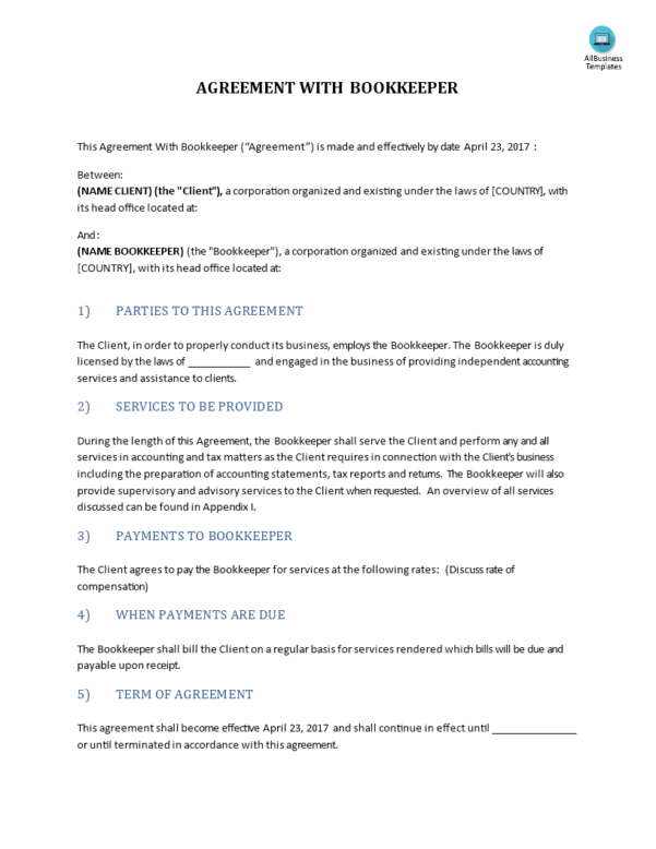 Bookkeeping Contract Template Filename | El Parga With Bookkeeping Contract Template Canada