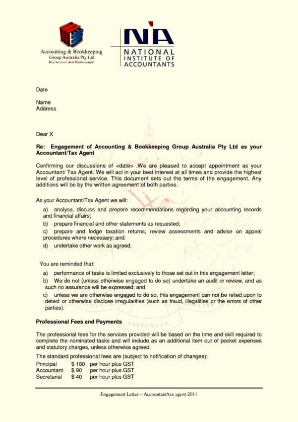 Bookkeeping Engagement Letter Template Collection | Letter Template To Bookkeeping Contract Template