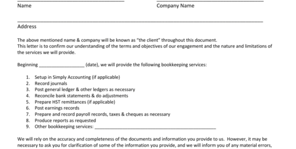 Bookkeeping Engagement Letter With Letter Of Engagement Bookkeeping Template Australia
