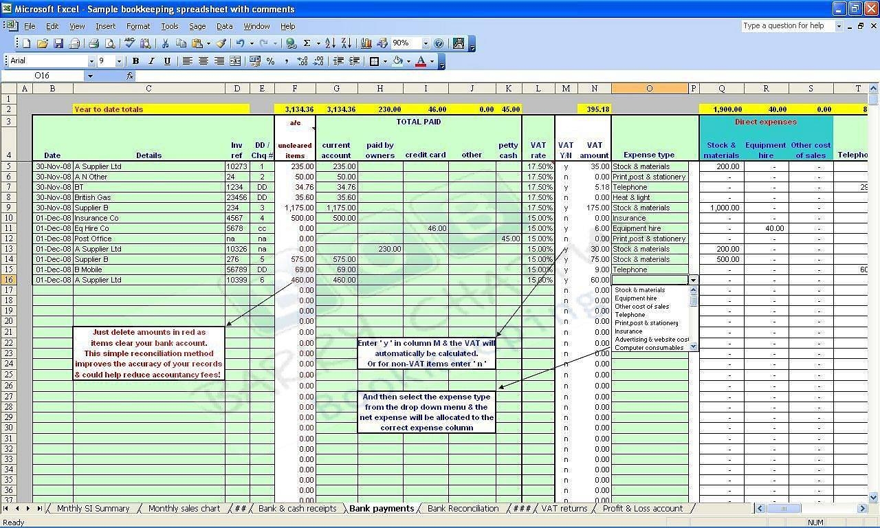 Bookkeeping Excel Spreadsheet Template Free | Papillon Northwan To Bookkeeping Expenses Spreadsheet