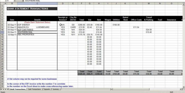 Bookkeeping Excel Spreadsheets Free Download | Homebiz4U2Profit With Bookkeeping Excel Spreadsheet Template Free