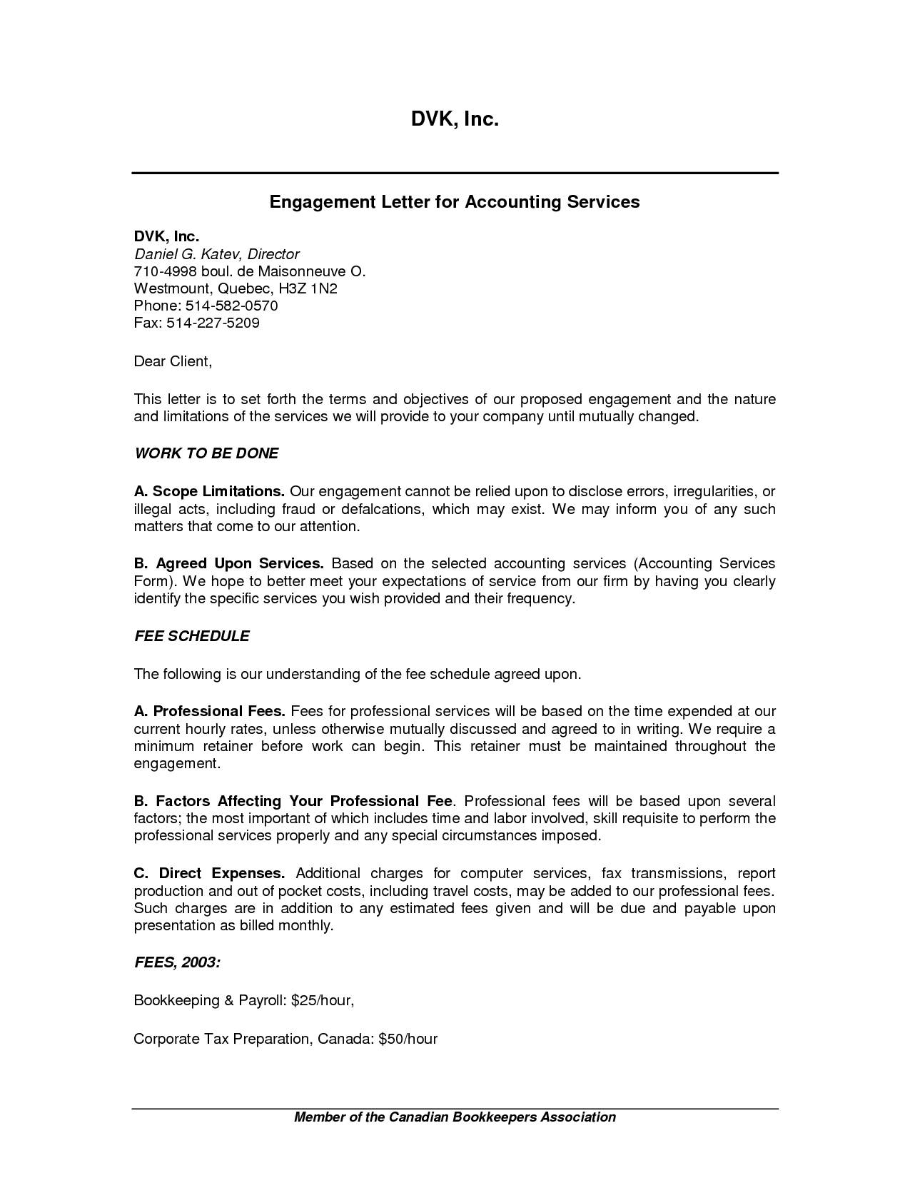 Bookkeeping Proposal Letters - Durun.ugrasgrup Throughout Bookkeeping Engagement Letter Example