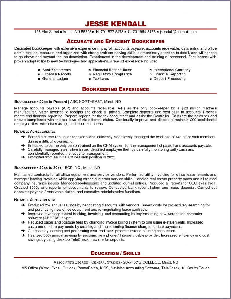Bookkeeping Resume   Hirnsturm In Office Bookkeeping Template