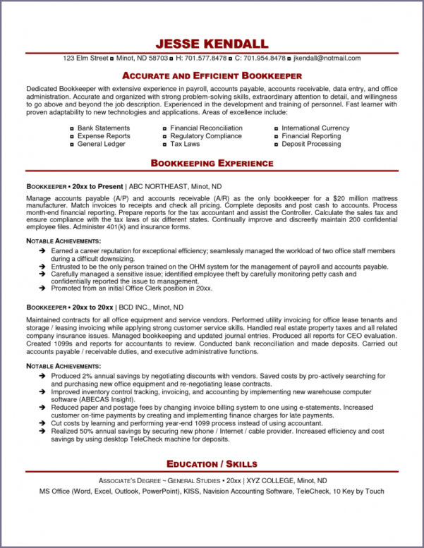 Bookkeeping Resume   Hirnsturm Within Bookkeeping Resume Template