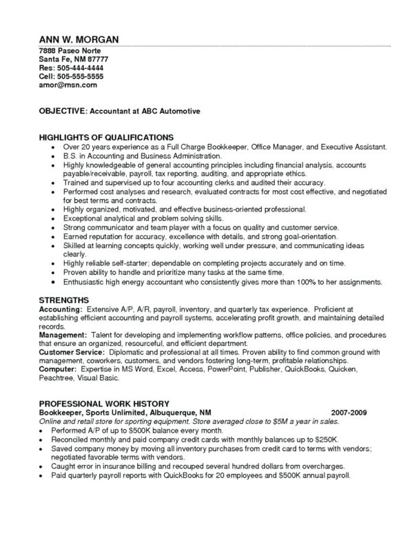 Bookkeeping Resume Samples Entry Level Accounting Sample To Bookkeeping Resume Templates