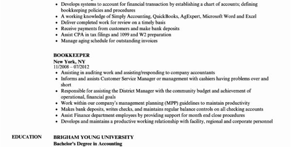 Bookkeeping Resume Samples Sample For Bookkeeper Of Objective To Bookkeeping Resume Samples
