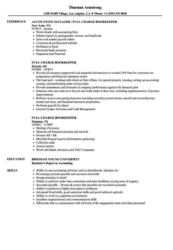 Bookkeeping Resume Samples Superb Bookkeeper Sample Free At With Bookkeeping Resume Samples