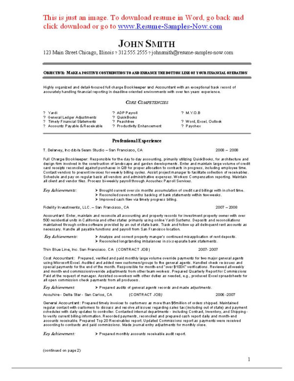 Bookkeeping Resumes | Nguonhangthoitrang In Bookkeeping Resume Template