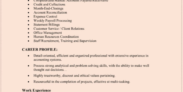 Bookkeeping Resumes | Nguonhangthoitrang In Bookkeeping Resume Templates