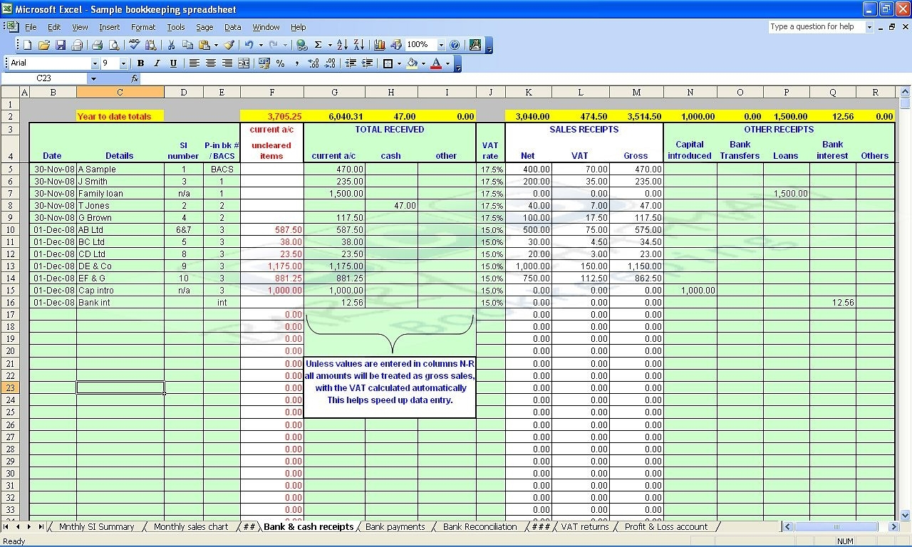 Bookkeeping Spreadsheets For Excel | Spreadsheets With Free In Salon Bookkeeping Spreadsheet Free