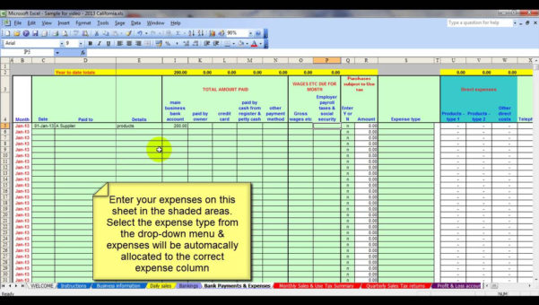 Bookkeeping Templates Excel Free | Homebiz4U2Profit And Bookkeeping Expenses Template