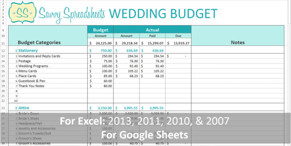 Branded Wedding Budgets Savvy Spreadsheets Budget Template Excel In Spreadsheet Templates Budgets
