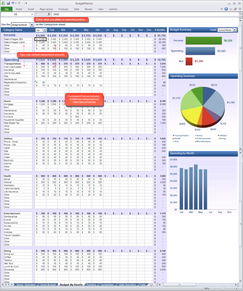 Budget Planner   Budgetmonth Excel Spreadsheet In Excel Spreadsheet For Budget