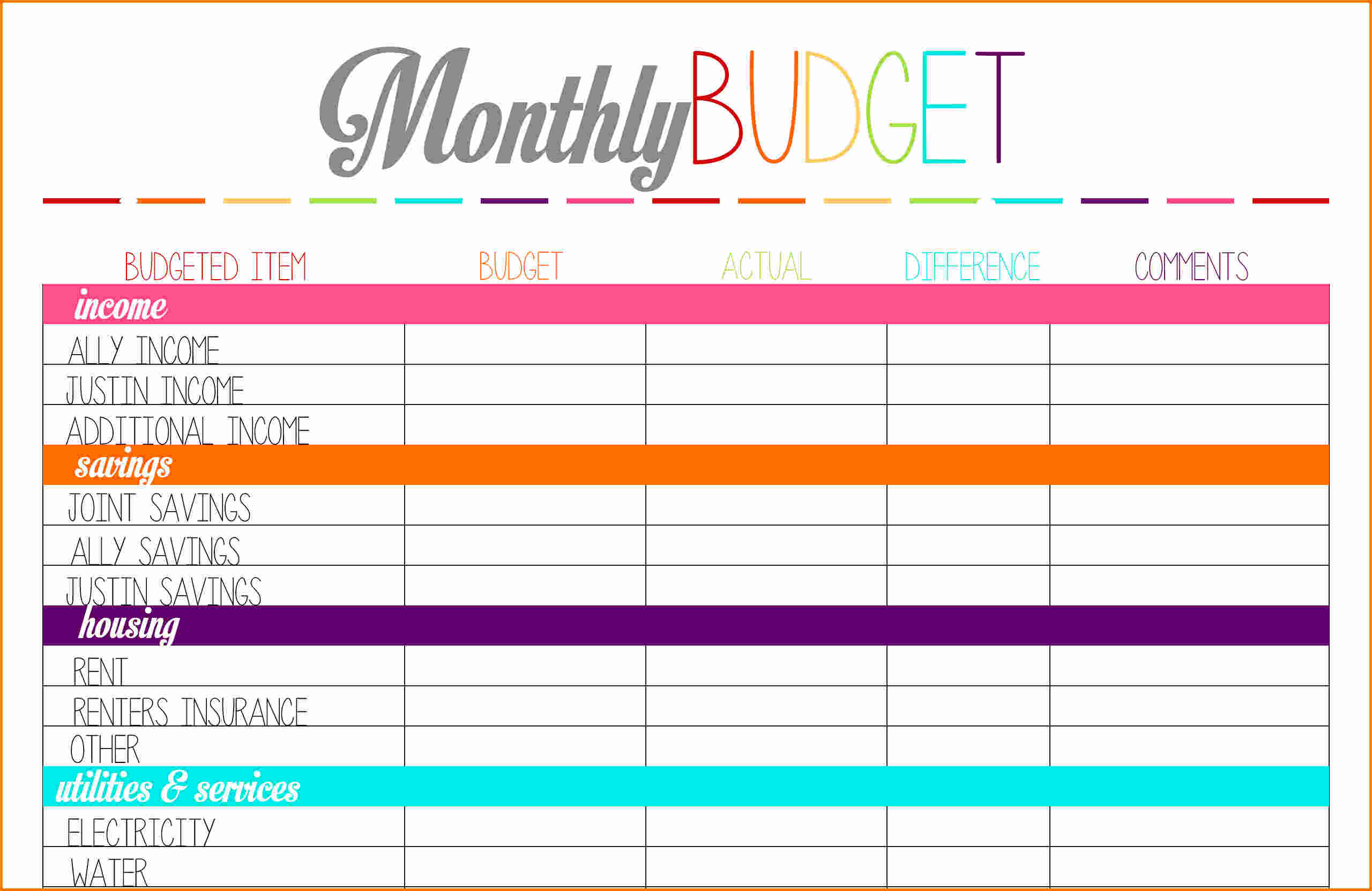 Budget Planner Printable Free   Durun.ugrasgrup To Monthly Budget Planner Template Free Download