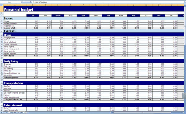 Budget Worksheet Excel Monthly And Yearly Bud Spreadsheet Excel Throughout Personal Budget Worksheet Excel