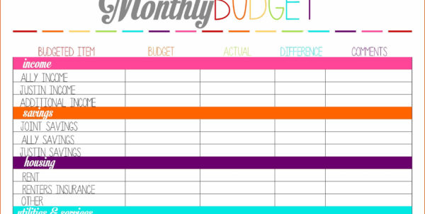 Budget Worksheet Printablememo Templates Word | Memo Templates Word In Free Monthly Budget Spreadsheet Template
