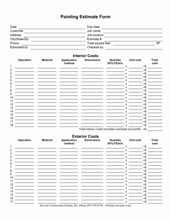 Building Construction Estimate Spreadsheet Excel Download Unique 50 To Construction Estimate Forms Download
