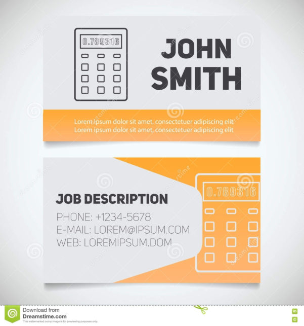 Business Card Print Template With Calculator Logo Stock Vector For Bookkeeping Business Cards Templates Free
