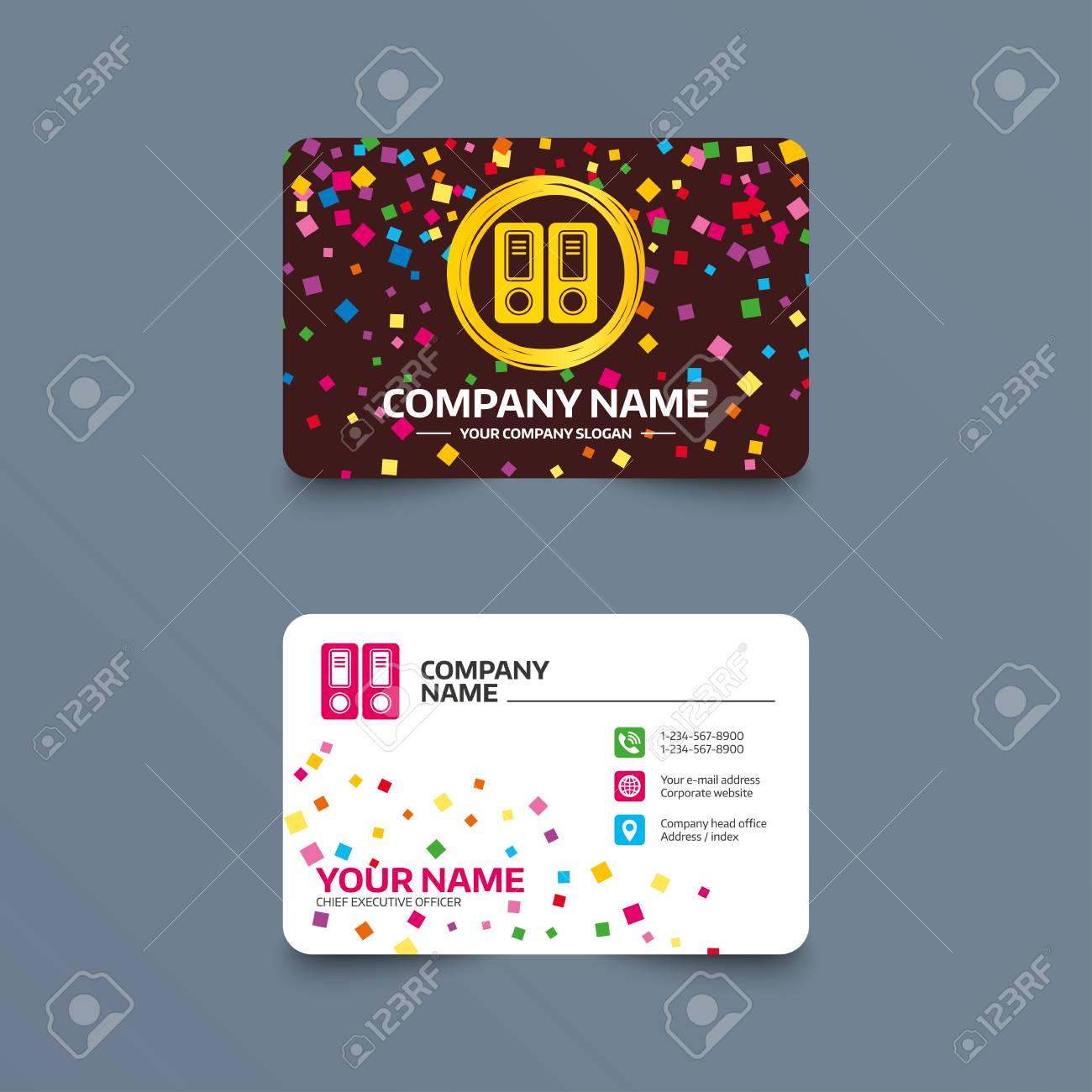Business Card Template With Confetti Pieces. Document Folder Inside Bookkeeping Business Cards Templates Free