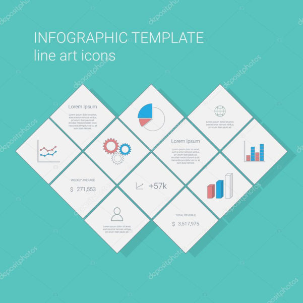 Business Infographics Template With Line Icons For Graphs And Pie In Project Management Presentation Templates
