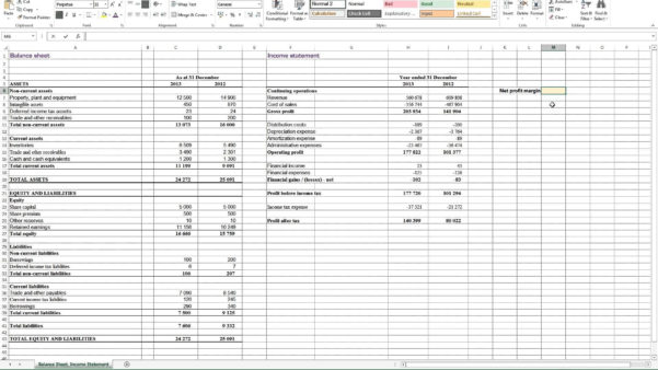 Calculating Profit Margin Excel Income Percentage Formula Difference To Balance Sheet Format In Excel With Formulas