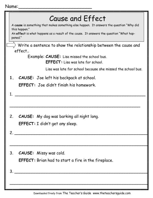 Cause And Effect Worksheets From The Teacher's Guide To Worksheet Templates For Teachers