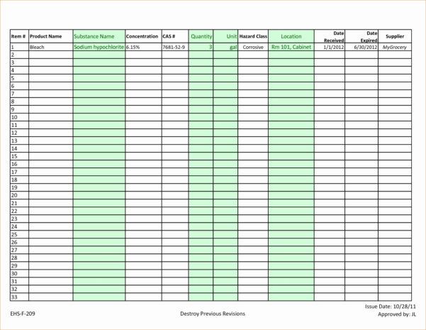 Chemical Inventory List Sample Luxury Chemical Inventory Template To Sample Excel File Inventory