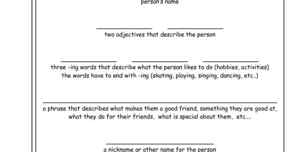 Cinquain Poems Worksheets From The Teacher's Guide To Worksheet Templates For Teachers