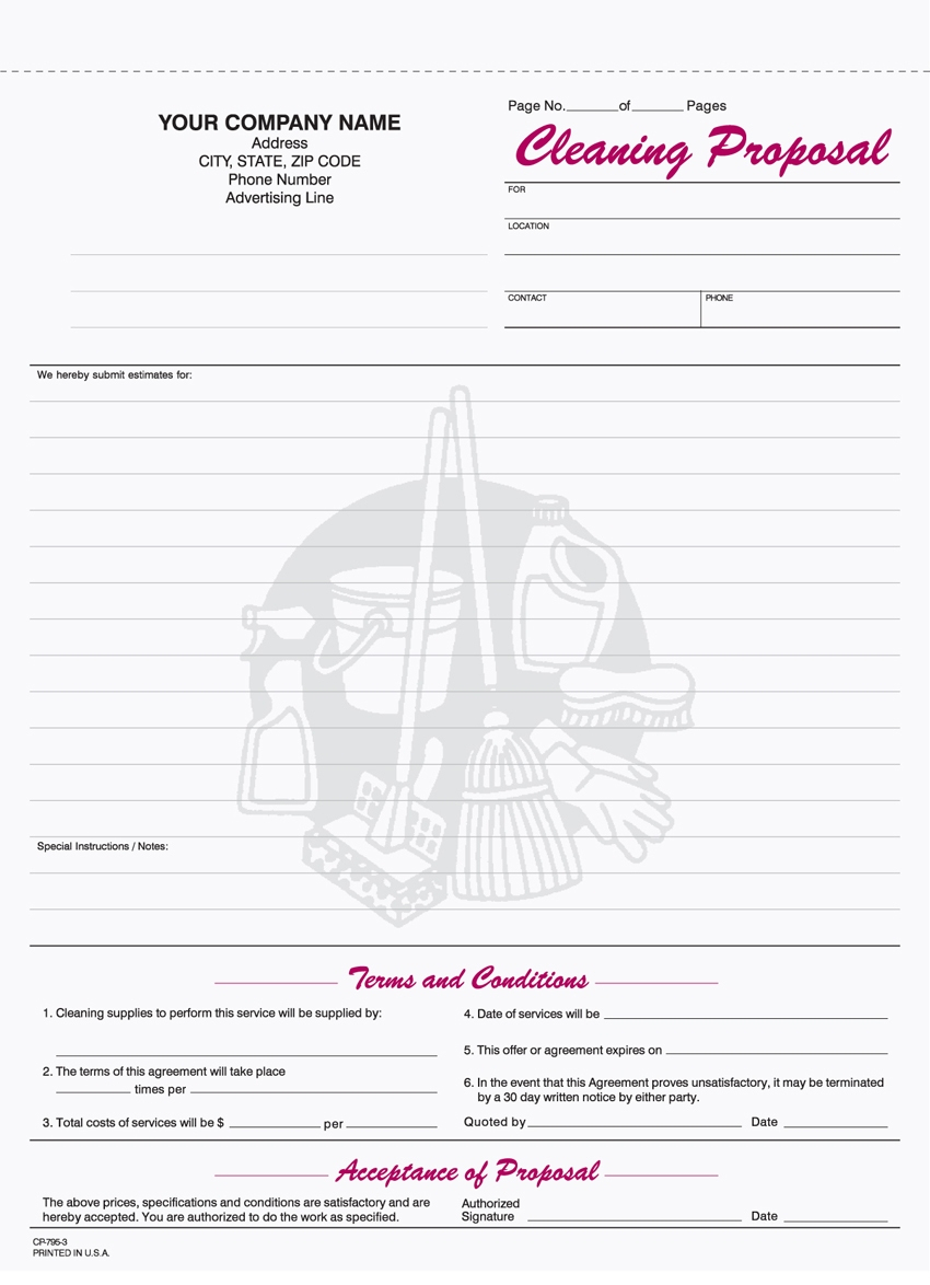 Cleaning Company Bid Proposal Complete 9 Best Of Free Printable With Free Printable Business Forms